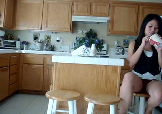 asian hottie kitchen voyeur fingering